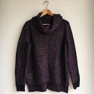 Purple Metallic Chunky Knit Tunic, size M
